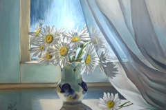 Daisies on the window. Soft pastel on paper, 30x40 cm. 2016