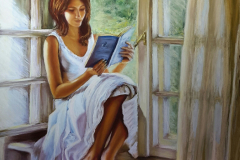 Girl with a book by the window. Soft pastel on paper, 50x65 cm. 2016