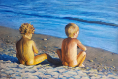 Kids on the beach. Soft pastel on paper, 30x40 cm. 2014