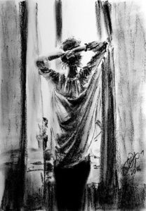 Girl by the window sketch